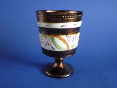 Early Victorian Hand Painted Copper Lustre Goblet c1840